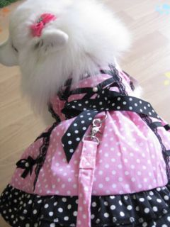 Fashion Pet Dog Clothes Apperals Pink Spot Cute Maid Style Dress with Leash