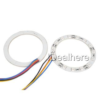 2X 80mm 15 LED RGB Car Angel Eyes Light Headlight with Halo Ring Remote Control