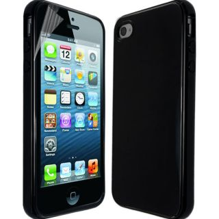 Plain Solid Glossy Silicone Gel Case Cover for Apple iPhone 4S Free Screen Film