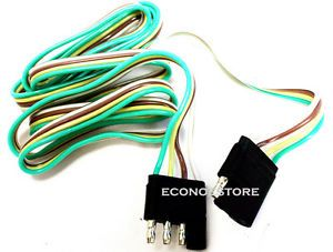 5 ft 4 Way Flat Trailer Light Wire Extension Cord Plug Long Wire