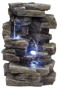 Rock Waterfall Indoor Outdoor Garden Tabletop Water Fountain Stone Light Decor