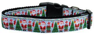 Aqua Santa Adjustable Nylon Ribbon Pet Dog Collar