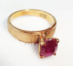 Vintage 18K Yellow Gold Ring Sz 3 w Prong Set Thai Ruby Le