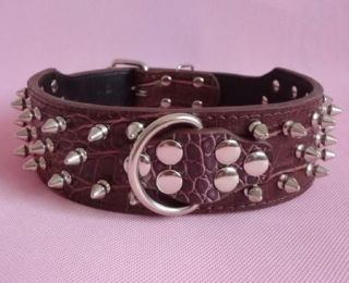 "2"" Wide Spiked Studded Dog Collars Leather Collars with D Ring Big Dog Pit Bull"