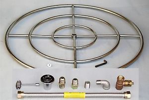 "36"" Stainless Steel Fire Pit Burner Ring Kit Natural Gas Fireglass Gaslogs"