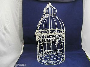 Vintage Iron Wire Metal Hanging Bird Cage Shabby Chic Decorative