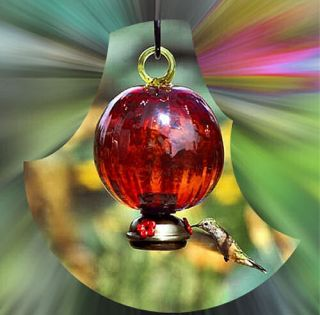 Dew Drop Ruffle Red Glass Hummingbird Feeder Parasol