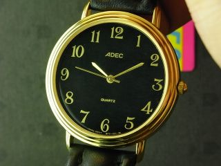 37mm Large Adec Gold Tone Classic Big Number Black Dial NOS Mens Quartz Watch