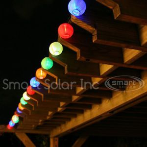 Smart Solar 20 LED Chinese Lanterns String Lights Multi Colored Outdoor Lighting