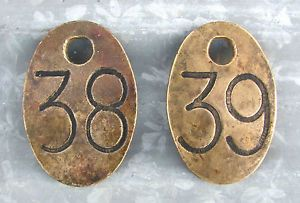 Vintage Brass Number Tags Cattle Livestock Cows Sign Antique Farm ID 38 39 Old