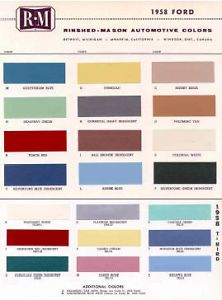 1958 Ford Paint Color Sample Chips Card Colors
