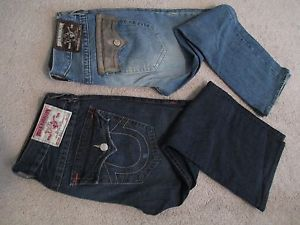 Mens True Religion Brand Jeans Section Billy World Tour Seat 34 32x30 Lot 2 Pair
