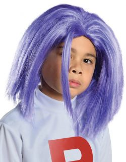 Child Boys Team Rocket Pokemon James Blue Purple Costume Wig