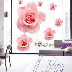 3D Wallpaper Large Size Pink Rose Flower Wall Sticker Removable Art Decor ES9P