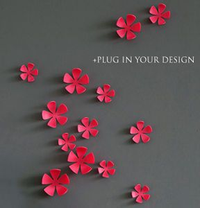 Flower Pink 3D Pop Up Sticker Stickers Wall to Wall Decals Decor Art Decoration