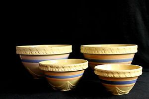 4 Vtg Antique Stoneware Pink Blue Striped Nesting Pie Crust Edge Mixing Bowls