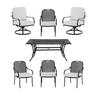 Hampton Bay Fall River 7 Piece Patio Dining Set with Bare Cushions $389 00