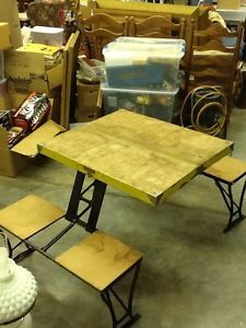 Vintage Folding Picnic Table Yellow Wooden