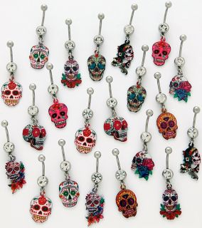 Sugar Skull Tattoo Art Clear CZ Dangle Surgical Steel Belly Button Ring 14g 3 8""
