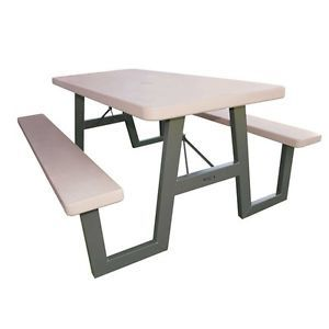 New 6' Portable Folding Picnic Table Seats 8 Adults Metal w Frame Putty Color