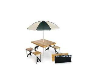 Picnic Plus Portable Wood Folding Picnic Table with Umbrella PSM 102U
