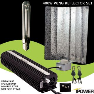 iPower 400 Watt 400W Dimmable HPS Grow Light System Wing Reflector Set Kit