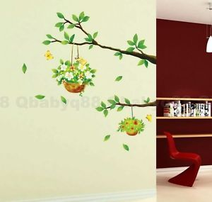Plants Basket Blossom Flower Tree Branch Wall Decals Decor Kids Baby Sticker Art