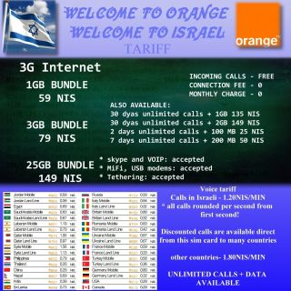 3G Israeli Official Orange Mini Micro Sim Card for iPhone Israel Internet