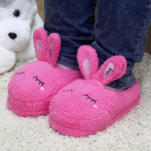 New Women's Girl Cute Animal Fuzzy Pinks House Slippers Rabbit 230 260mm US6 9