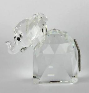 Swarovski Crystal Large Elephant 1982 Retired Figurine Metal Tail Trunk Up