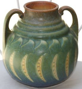 Antique Art Deco Roseville Pottery Falline Green Handled Vase