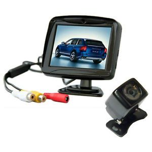 "3 5"" TFT LCD Car Reverse Rearview Color Monitor Car Backup Camera System X1"