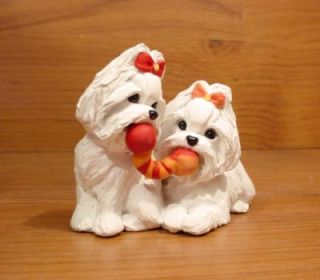 Original Maltese Playful Pair Dog Sculpture Claydogz Mandyo OOAK
