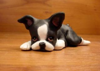 Original Boston Terrier Dog Sculpture Claydogz Mandyo OOAK