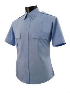 Uniform Security Guard Police Light Blue Polyester Shirt Short Sleeve w Free