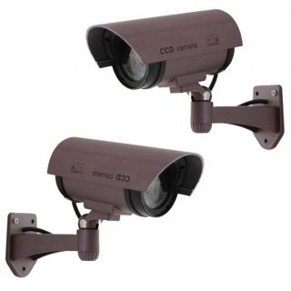 2X Fake Surveillance Dummy Security Camera Waterproof LED Light Indoor Outdoor