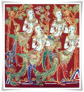 Kinaree Silk Fabric Painting Wall Hanging Art L01