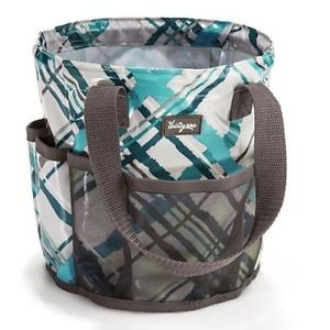 "New Thirty One Round About Caddy Sea Plaid Embroidered ""Shower Power"""