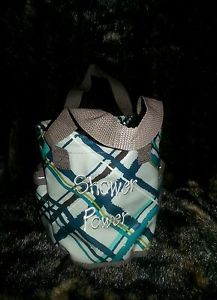 "Thirty One Round About Caddy in Sea Plaid w Embroidery ""Shower Power"""