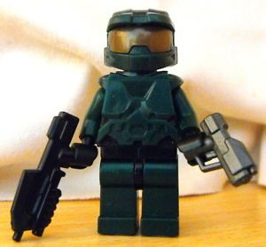Super RARE Lego Halo Master Chief Minfigure with Custom BrickArms Weapons
