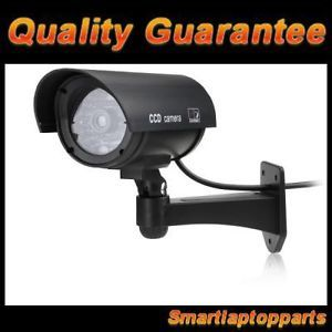 Fake Dummy Security Camera with LED Light Surveillance Indoor Outdoor Black