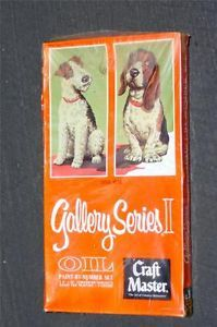 "Vtg Craft Master Gallery Series 2 Oil Paint by Number ""Daily Double"" Dogs SEALED"