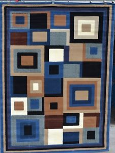 9332 Blue Beige 8x10 Modern Contemporary Abstract Area Rug Carpet