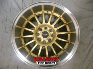 4 Used 15x7 4x100 4 100 Dr 41 Gold Machined Lip Wheels Rims