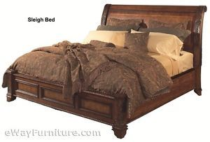 Vineyard Sleigh Low Profile King Bed Bedroom Cherry Finish Hardwood Furniture