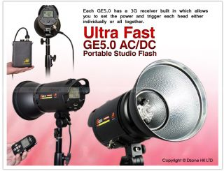 500W 3G Wireless Portable Studio Flash Lighting Kit with Remote Battery S344