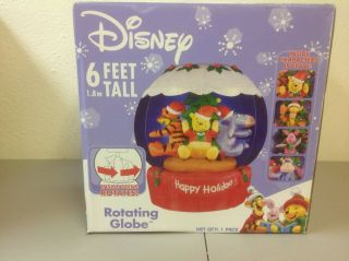 New Gemmy Airblown Inflatable Christmas 6ft Disney Rotating Pooh Globe 18012