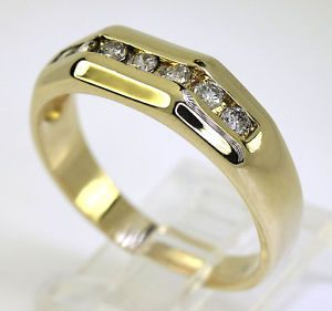 Mens Diamond Wedding Band Ring 14k Yellow Gold 7 Channel Set Round Gems 40ct