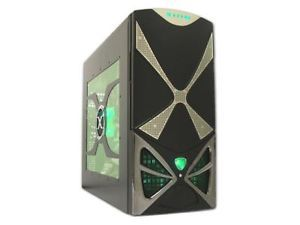 Black Green LED Fan ATX Mid Tower PC Computer Gaming Case w 2X 120mm 1x 80mm Fan