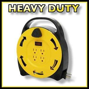 Electric Extension Cord Reel 20' ft Outdoor 4 Outlets Heavy Duty